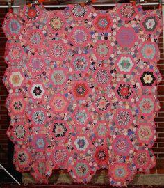 Large 30s Vintage Grandmother's Flower Garden Antique Quilt TOP   eBay