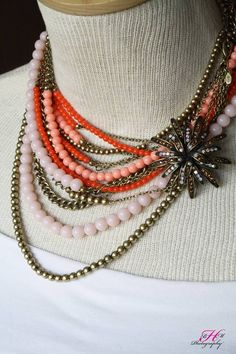 Papaya necklace and Notting Hill pin