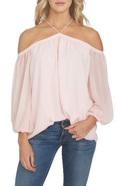 1.STATE Off the Shoulder Sheer Chiffon Blouse. #affiliate #nordstrom #chiffon #summerstyle