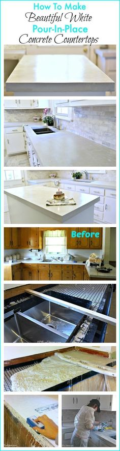 HOW TO MAKE BEAUTIFUL WHITE CAST IN PLACE CONCRETE COUNTERTOPS #homeimprovementcast,