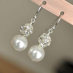 Bridal Pearl Earrings, Vintage Style Wedding Earrings. Drop Pearl Rhinestone Earrings. Sterling Silver Wedding Jewellery for the Bride. $29.00, via Etsy.