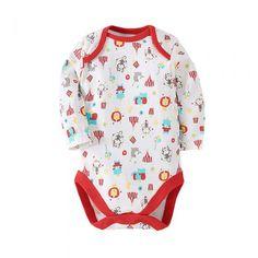Cute Cotton Cartoon Circus Unisex Baby Onesies Long Sleeve Red & White