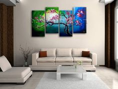 Elegant designed 4-panel giclee print on artist canvas with Floral in Contemporary style. It is available in numerous sizes to fit any size room!