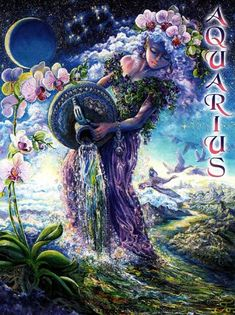 Josephine Wall - Aquarius - Zodiac Greeting Card: