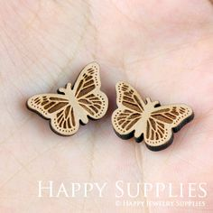 4pcs (SWC100) DIY Laser Cut Wooden Butterfly Charms