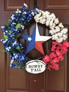 Texas Flag Wreath We are want to say thanks if you. Texas Star Decor, Texas Home Decor, Rustic Texas Decor, Texas Diy, Texas Crafts, Cowboys Wreath, Flag Wreath, Star Decorations, Christmas Decorations