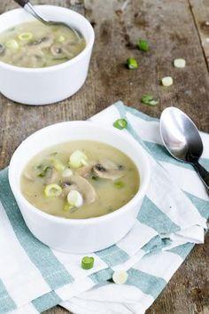 Champignonsoep met lente ui | Makkelijke soep | Lentesoepje | via brendakookt