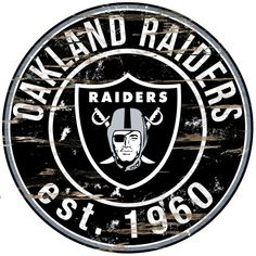 "Oakland Raiders 23.5"" Distressed Round Sign"
