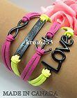 Womens Bracelet Infinity Love Anchor WTAW Pink Yellow Velvet Black Charm K851b