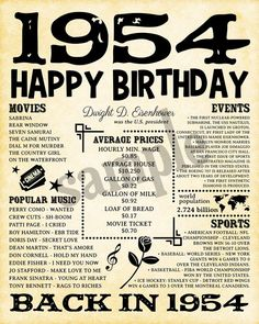 1954 Birthday Poster Born In 1954 Poster 1954 Birthday Gift 1954 Birthday, 65th Birthday Gift, Dad Birthday, Birthday Cards, Happy Birthday, 65th Birthday Party Ideas, Birth Year, Time Capsule, Fun Facts