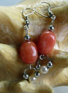 Orange SemiPrecious Bead Earrings by designsbypbe on Etsy, $10.00