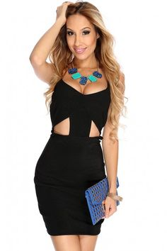 Black Front Cut Out Sexy Party Dress