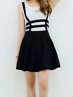 Ladylike Hollow Out Zippered Black Overalls Skirt For Women