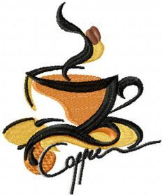Coffee free embroidery design. Machine embroidery design. www.embroideres.com