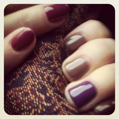 Nails Inc Biosculpture Gels Me: Chocolate Fudge with Amethyst on ring finger Sian: Cherry Liqueur I like chocolate fudge Dempster . Like Chocolate, Chocolate Fudge, Cherry Liqueur, Funky Fingers, Nail Colors, Colours, Nails Inc, Ring Finger, Nails Inspiration
