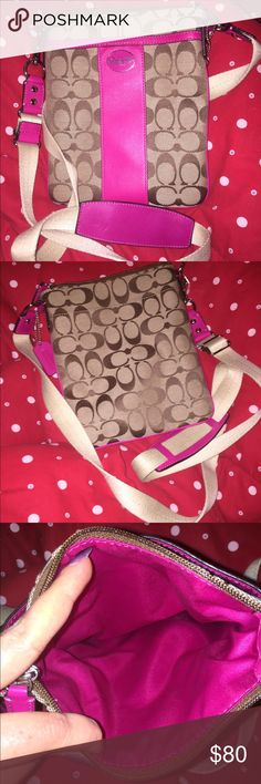 """Coach Swing Crossbody Pink and Brown Classic """"C"""" Slightly Used Coach Pink Accent and Brown Classic """"C"""" Swing Cross Body Bag Coach Bags Crossbody Bags"""