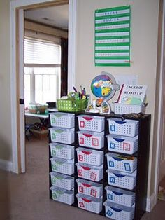 Workbox System.... Since our new house is 1000 sq ft smaller, I'm going to have to get creative with our homeschool space!!!! Something like this might work