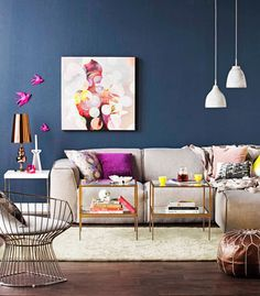 dark wall colour living room - Google Search