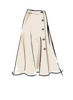Side button skirt has length variations, C: ruffle hemline. Fashion Design Portfolio, Fashion Design Drawings, Fashion Model Sketch, Fashion Sketches, Skirt Patterns Sewing, Mccalls Patterns, Fashion Art, Fashion Models, Fashion Outfits