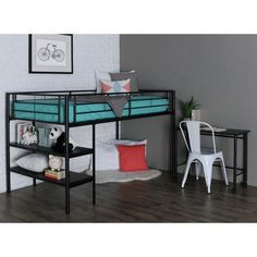 Maximize space in any bedroom with this space-saving loft bed set. The loft bed has two shelves integrated into the frame and provides additional storage space underneath. A matching desk is included; it stows perfectly under the bed when not in use. Modern Bunk Beds, Low Loft Beds, Twin Bunk Beds, Kid Beds, Lofted Beds, Modern Bedrooms, Modern Loft, Modern Contemporary, Bunk Bed With Desk