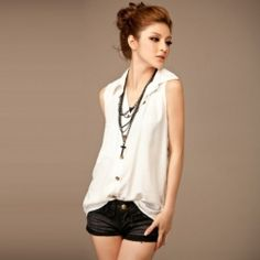 Gamiss® Stylish Lapel Sleeveless Single-Breasted Design Solid Color Blouse For Women