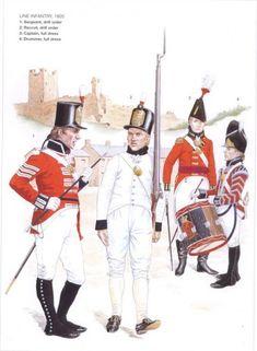 Britishs Line Infantry 1805 Spain 1-Sergeant drill order 2-Recruit, drill order 3-Captain, full dress 4-Drummer, full dress