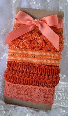 Vintage Ribbon Lace Bundle Orange by Toide on Etsy, $8.00