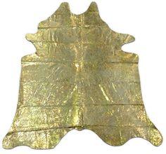 Gold Metallic Cowhide Rug G-342 8.5' X 7.5 HUGE Gold Devore #CowhidesUSA #AcidWashed