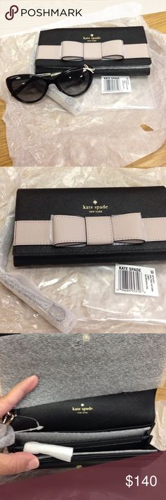 Kate spade wristlet. Brand new never used Kate spade Kirk park saffiano linney. Black and mousse frosting. Very cute. Has 10 credit card slots. Zipped pouch for money and change. Enough room for cell phone and keys. kate spade Bags Clutches & Wristlets