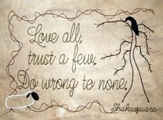 Love All Trust A Few Sampler - 5x7 | Primitive | Machine Embroidery Designs | SWAKembroidery.com HeartStrings Embroidery