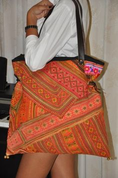Leather Ethnic Vintage Tote HMONG Tribe Bag - Thailand