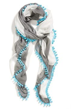 Halogen 'Wayward Stripe' Scarf Womens Black/ Aqua One Size One Size