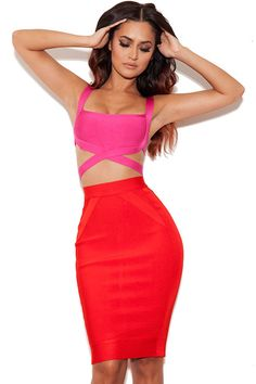 Red And Hot Pink Bandage Two-Piece Skirt Set LAVELIQ