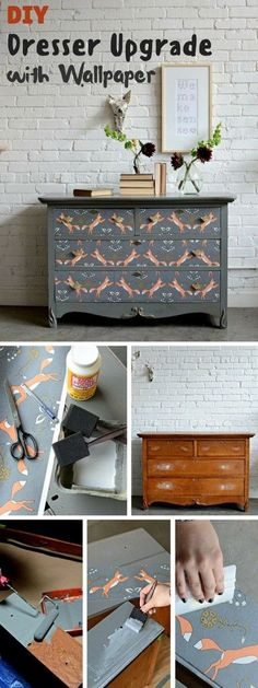 Check out the tutorial: #DIY Dresser Upgrade with Wallpaper #crafts #homedecor