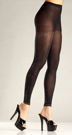 6c8388dfcd4 Sexy Be Wicked Black Silver Opaque Shimmery Leggings Footless Tights/Pantyhose  Black Tights, Fishnet