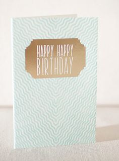Gazar Birthday letterpress card (with gold foil) from Smock Paper