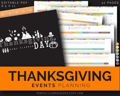 25OFF Thanksgiving Day Holiday Planner Organizer Printable || Colorful Printable Planner Organizer Binder DIY || Household PDF Printables