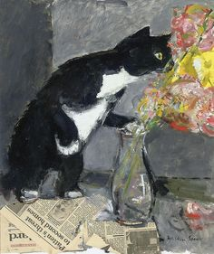 poboh:  The Curious Cat,  Ruskin Spear. English (1911 - 1990)
