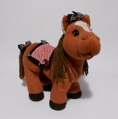 Cabbage Patch Kids Horse Plush Brown Yarn Mane Tail Gingham Saddle Bows CPK #JakksPacific #PetsAnimals