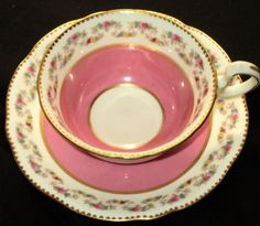ANTIQUE AYNSLEY PINK Tea cup and saucer ROSE GARLAND