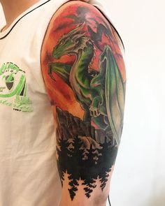 Photo by (marin_capic) on Instagram   #tattoo #tattoos #coverup #dragontattoo #dungeonsanddragons #sunsettattoo #fantasyart #fantasytattoo #colortattoo #customdesign #customtattoo #zagreb Sunset Tattoos, Fantasy Tattoos, Custom Tattoo, Color Tattoo, Dungeons And Dragons, Cover Design, Fantasy Art, Tattoo Designs, Custom Design