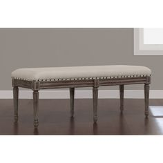 Elements Weathered Espresso Upholstered Dining Bench - Overstock Shopping - Great Deals on Dining Chairs