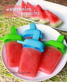Watermelon Popsicles #sugarfree #glutenfree #frozentreats #summer | www.wineladycooks.com