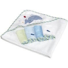 SpaSilk Hooded Towel Set with 4 Washcloths - Whale Applique