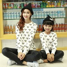 1pc Retail New 2015 Mother Daughter Matching Cartoon T-Shirts Family Autumn Mom Girl Clothing Set Long Sleeve Fashion Outfits
