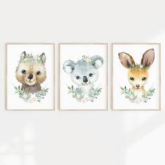 Set of 3 Framed Baby Woodland Animal Rustic Nursery Decor Set of 3 Black Frame, 11x14