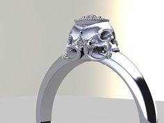 Double Skull Engagement Ring Diamond Halo White Rose Yellow Gold Possible on Etsy, $1,970.00
