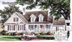 Country Plan 1315 - The Sunspring - is NOW AVAILABLE! http://www.dongardner.com/plan_details.aspx?pid=4479 3 beds, 2.5 baths, 2137 sq. ft: A breezy country porch wraps the exterior, while a lofty foyer leads to the expansive open living area. Coat and linen closets near the bedrooms provide plenty of storage space. A pocket door in the bathroom offers privacy without taking up extra space. #Small #Country #House #Designs