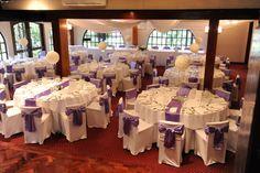 #wedding #bride #groom #reception #weddingreception #loveit #chateauwyuna #burgundyroom #purple #satin #roseball Burgundy Room, Purple Satin, Bride Groom, Wedding Bride, Reception Rooms, Table Runners, Cabin, Warm, Table Decorations