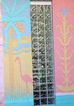 all pastels: pink + yellow + aqua + blue [Miami art deco architecture - Flamingo Plaza, 1051 Meridian Ave]